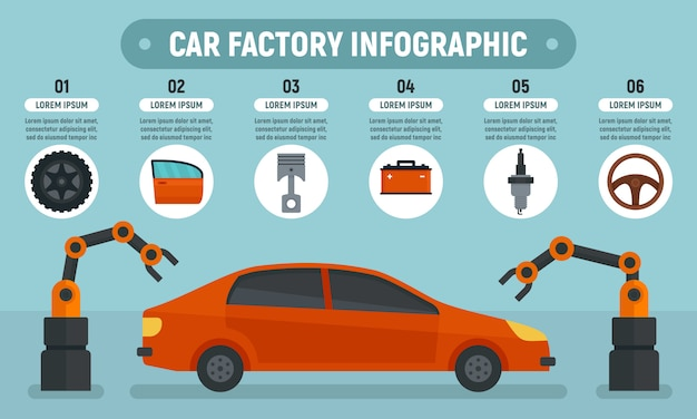 Fabbrica di auto infografica Vettore Premium