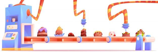 Fabbrica di caramelle, produzione di cioccolato Vettore gratuito