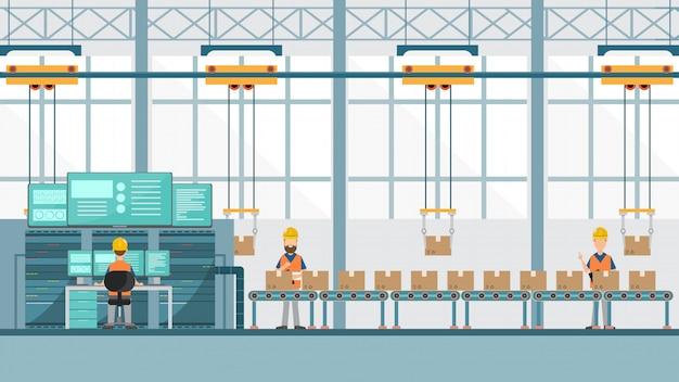 Fabbrica industriale intelligente Vettore Premium