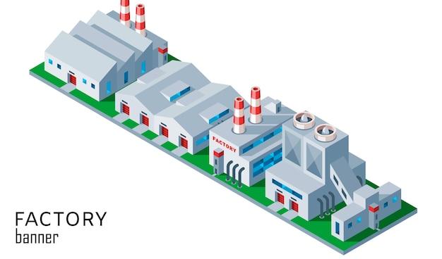 Fabbrica industriale isometrica e costruzione del magazzino Vettore Premium