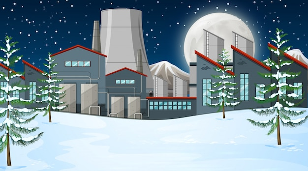 Fabbrica nella scena della neve Vettore gratuito