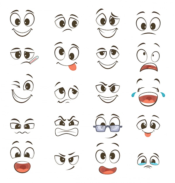 Facce felici dei cartoni animati con espressioni diverse. illustrazioni vettoriali Vettore Premium