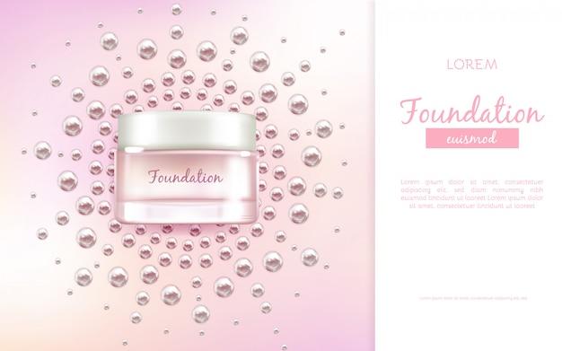 Faccia crema idratante o banner di pubblicità vettoriale realistico 3d essenza Vettore gratuito