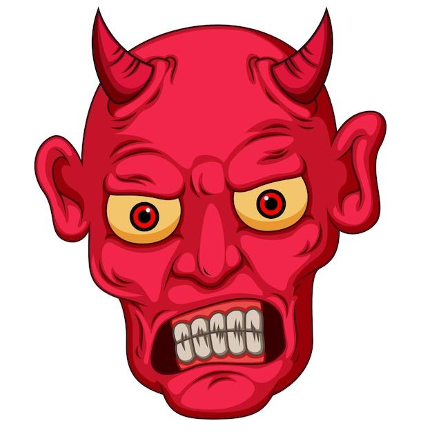 Faccia del diavolo stile cartoon rosso Vettore Premium