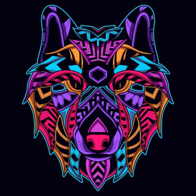 Faccia di lupo in colore neon Vettore Premium