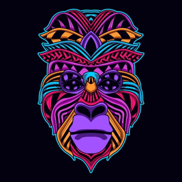 Faccia di scimmia in colore neon incandescente Vettore Premium