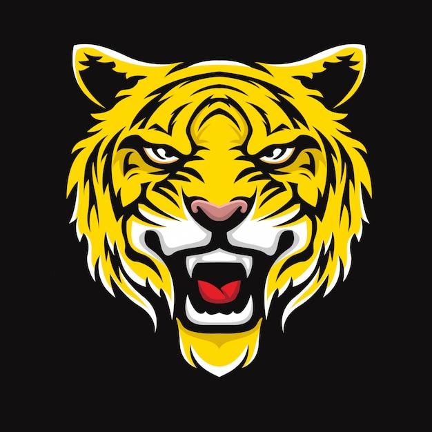 Faccia di tigre Vettore Premium