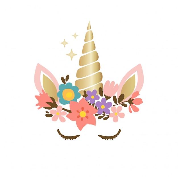 Faccia di unicorno carino con fiori Vettore Premium