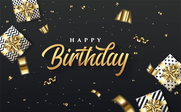 Faccia festa il fondo con un'illustrazione di un contenitore di regalo 3d intorno alla scrittura di buon compleanno dell'oro. Vettore Premium
