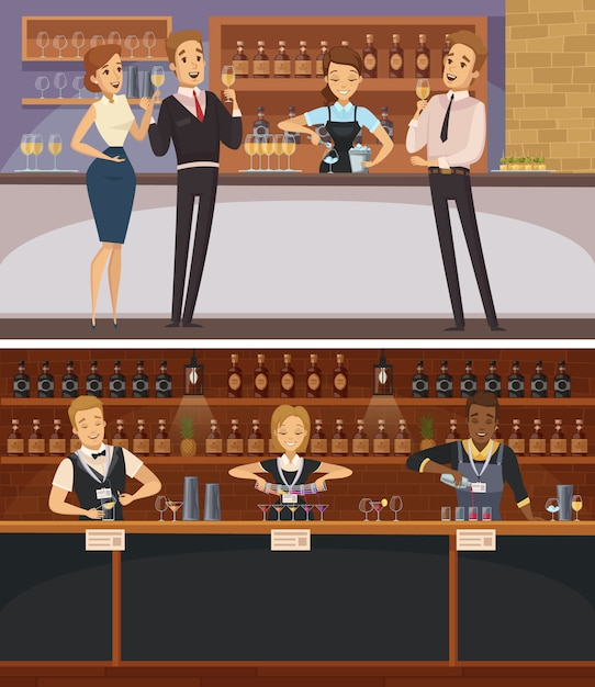 Faccia festa nelle insegne orizzontali del fumetto interno della barra con i baristi e gli ospiti che tengono i bicchieri di vino Vettore gratuito