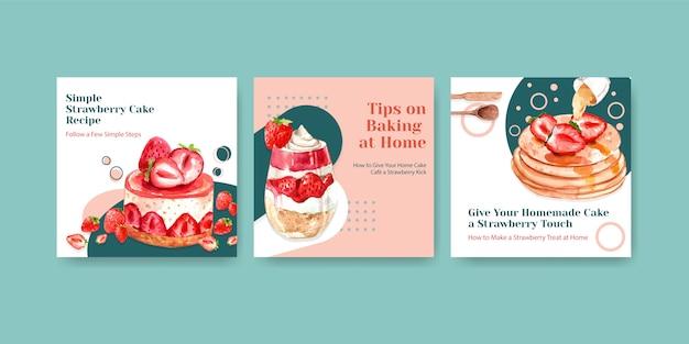 Faccia pubblicità al modello con progettazione di cottura della fragola per l'opuscolo con l'illustrazione dell'acquerello delle cialde, della cheesecake e della crostata Vettore gratuito