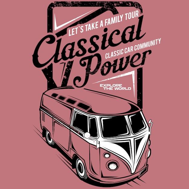 Facciamo un giro in famiglia potenza classica, illustrazione di un'auto di famiglia classica Vettore Premium