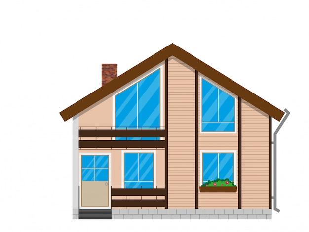 Facciata della casa in legno con balcone. Vettore Premium