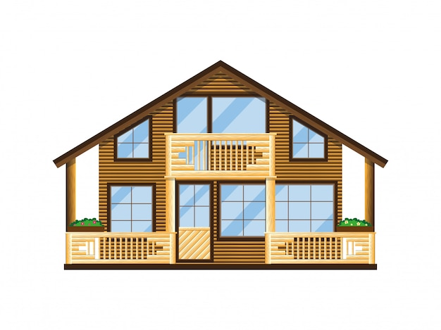 Facciata di casa in legno con balcone e veranda. Vettore Premium
