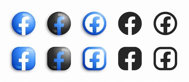 Facebook 3d moderno e set di icone piatte Vettore Premium
