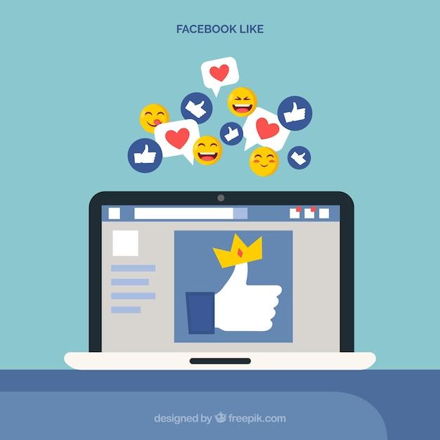 Facebook come con un dispositivo elettronico Vettore gratuito