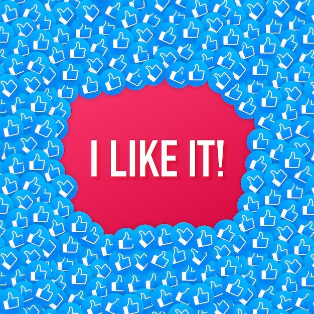Facebook come sfondo di composizione icona. mi piace. social media come il pollice in su. Vettore Premium