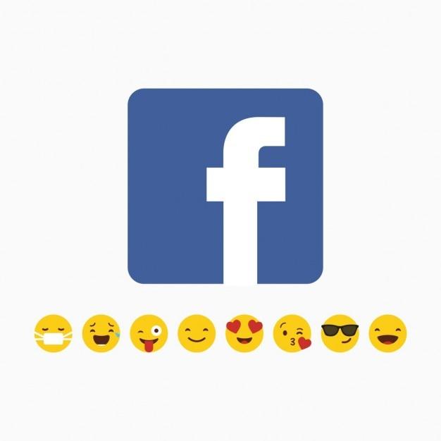 Facebook logo con emoji set di icone Vettore gratuito