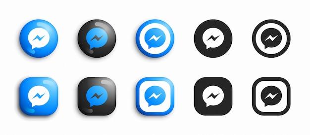 Facebook messenger icone moderne 3d e piatte Vettore Premium