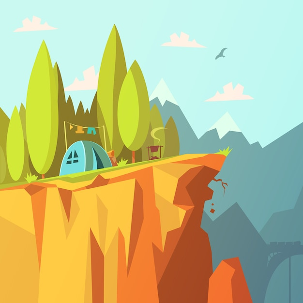 Facendo un'escursione e un turismo nei precedenti delle montagne con la tenda su un'illustrazione di vettore del fumetto della scogliera Vettore gratuito