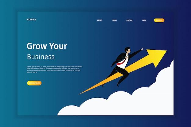 Fai crescere la tua pagina di destinazione aziendale Vettore Premium