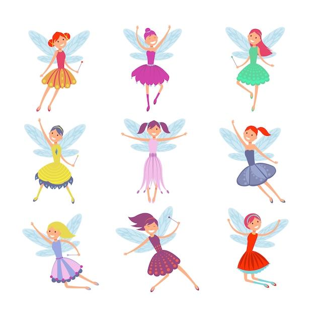 Fairies volanti del fumetto in abiti colorati vector set. Vettore Premium