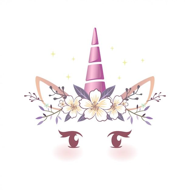 Fairytale unicorn face illustration Vettore Premium