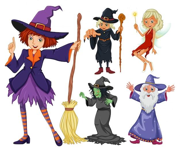 Fairytales set con la strega e wizard Vettore gratuito
