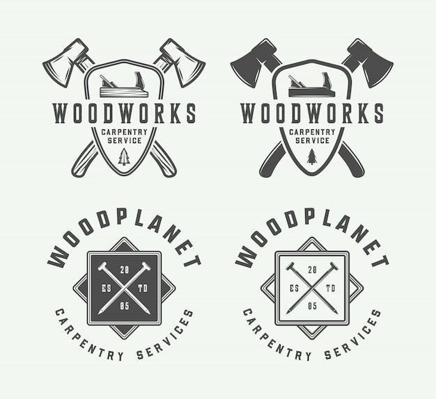 Falegnameria, distintivi della falegnameria, emblemi Vettore Premium