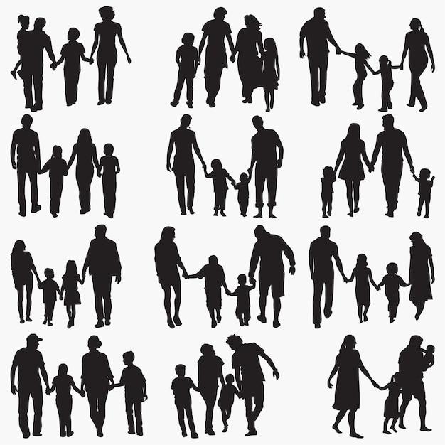Famiglia 4 sagome Vettore Premium