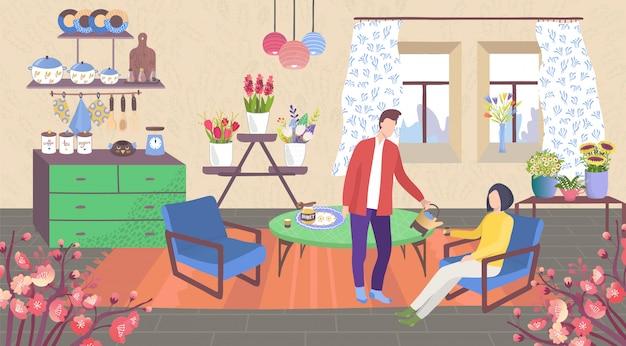 Famiglia a casa, personaggi dei cartoni animati delle coppie nella stanza della cucina dell'appartamento accogliente con piante d'appartamento nel fondo dei vasi Vettore Premium