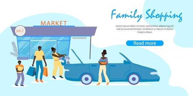 Famiglia africana caricamento degli acquisti in auto, shopping Vettore Premium