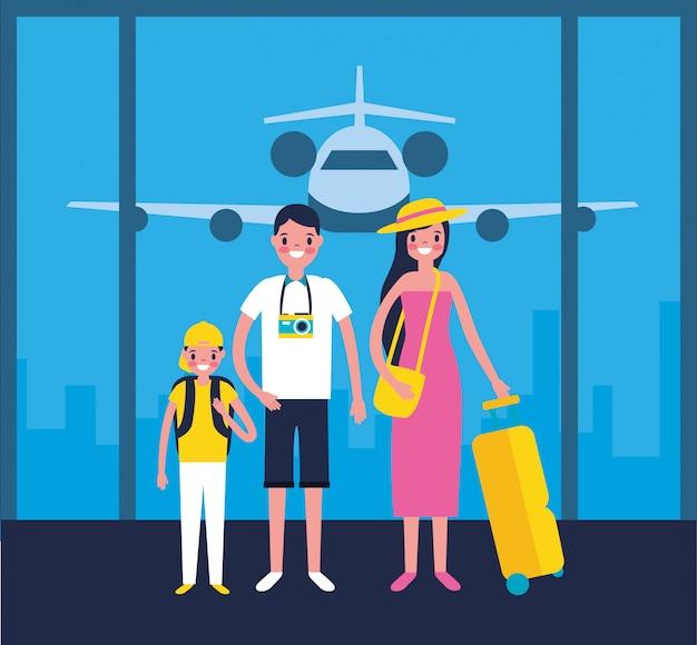Famiglia all'aeroporto Vettore gratuito