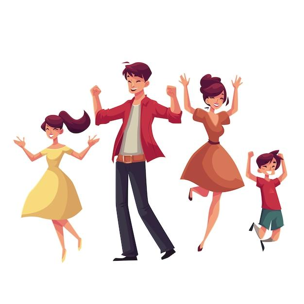 Famiglia allegra di stile del fumetto che salta dalla felicità Vettore Premium