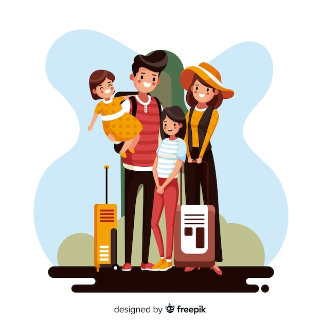 Famiglia andando su uno sfondo di viaggio Vettore gratuito