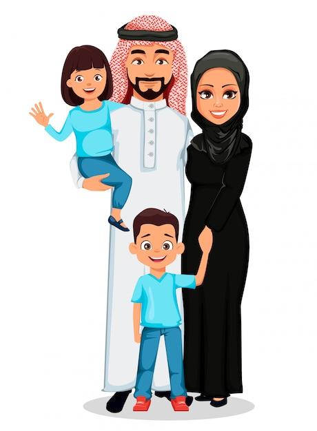 Famiglia araba felice Vettore Premium