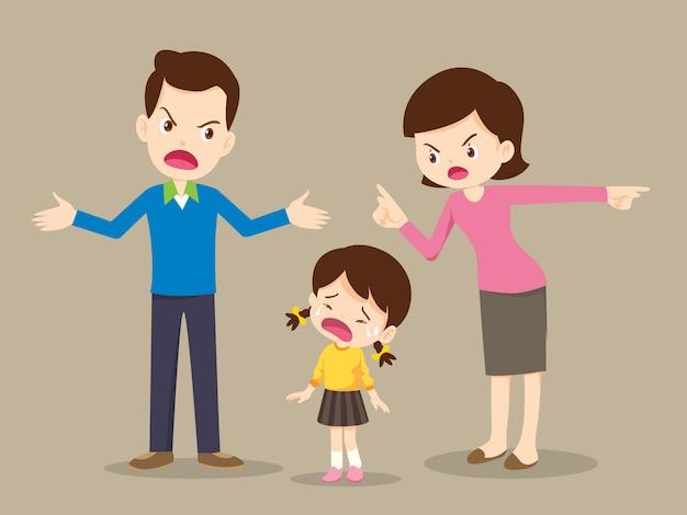 Famiglia arrabbiata che litiga Vettore Premium