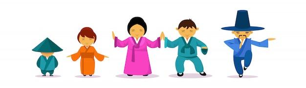 Famiglia asiatica che indossa il concetto tradizionale della cultura e della tradizione orientale dei vestiti Vettore Premium