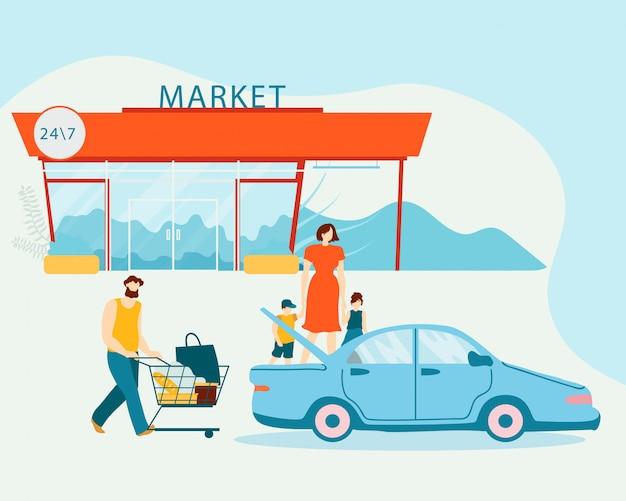 Famiglia caricamento acquisti in auto dopo lo shopping Vettore Premium