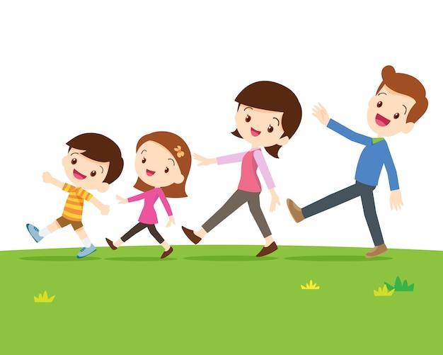 Famiglia carina che cammina Vettore Premium
