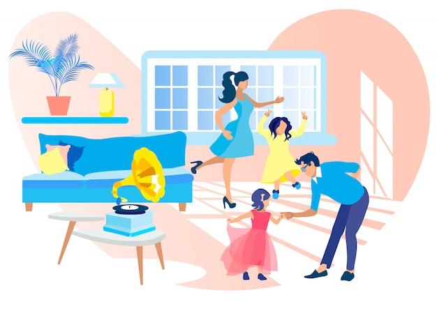 Famiglia che balla a casa ascoltando musica grammofono. Vettore Premium
