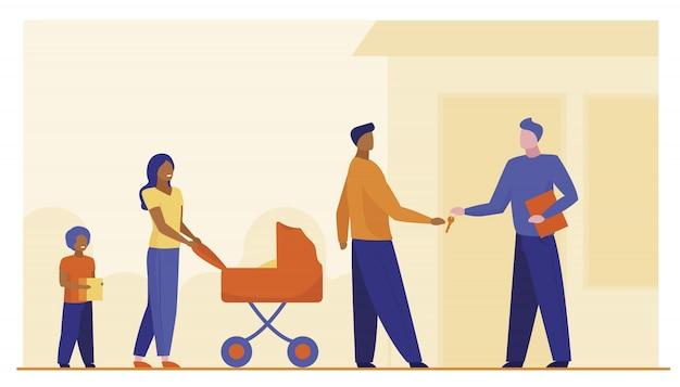 Famiglia che compra proprietà Vettore gratuito