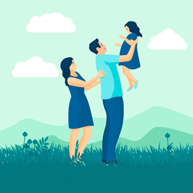 Famiglia che gode del design del tempo Vettore gratuito