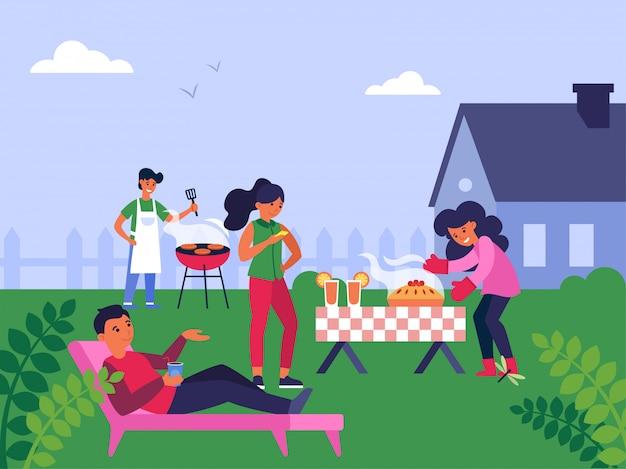 Famiglia che gode del fine settimana a casa di periferia Vettore gratuito