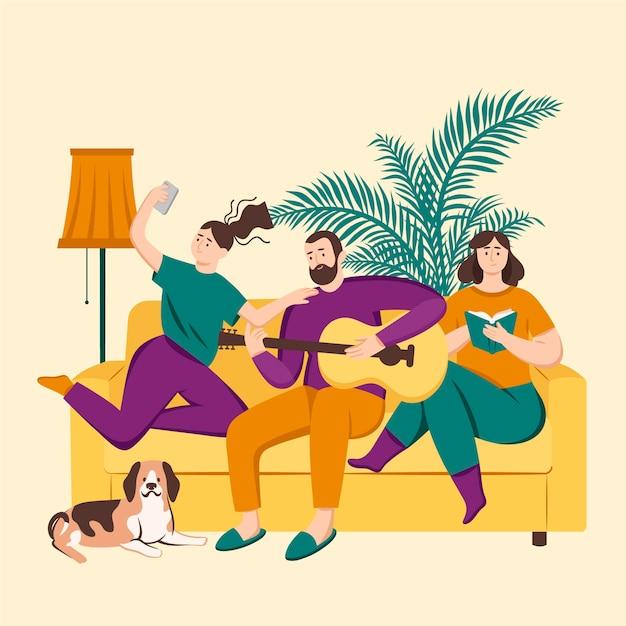 Famiglia che gode del tempo insieme al cane Vettore gratuito