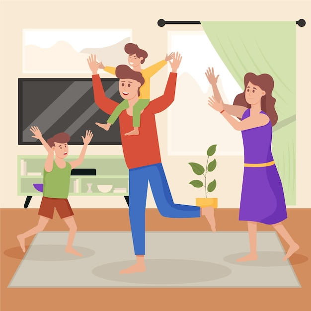 Famiglia che gode del tempo insieme Vettore gratuito