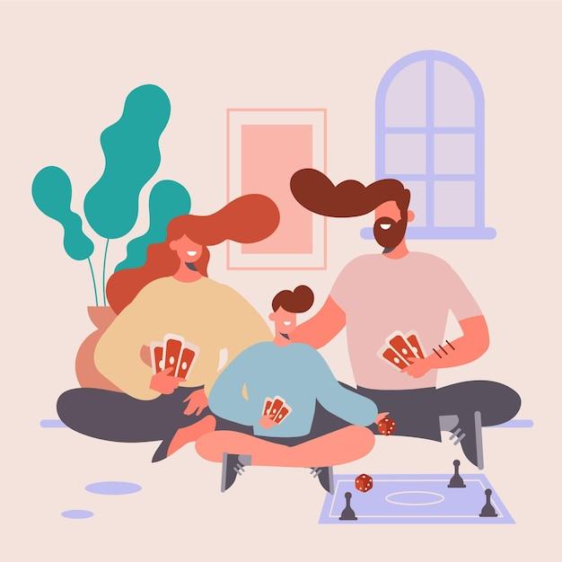 Famiglia che gode del tempo Vettore gratuito