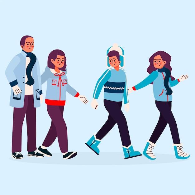 Famiglia che indossa abiti invernali Vettore gratuito