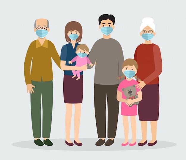 Famiglia che indossa una maschera medica protettiva. mamma, papà, nonna, nonno, bambini. Vettore Premium