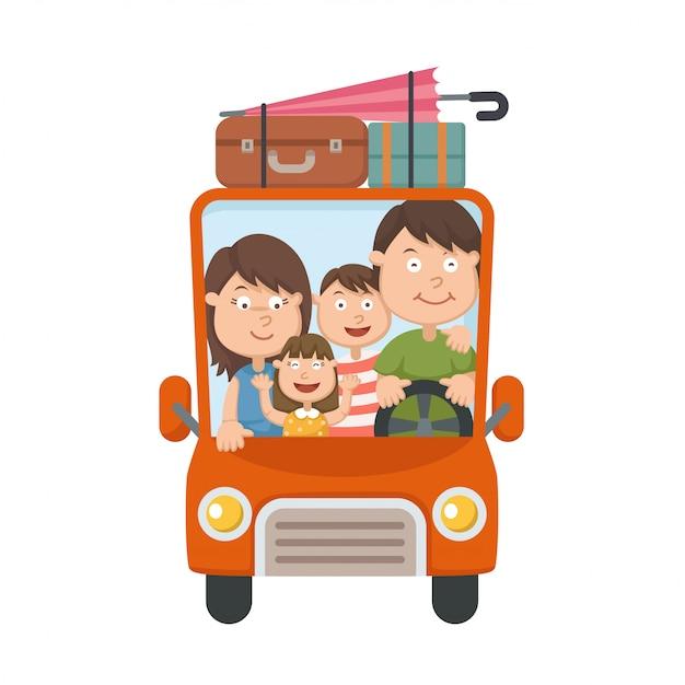 Famiglia che viaggia in auto Vettore Premium